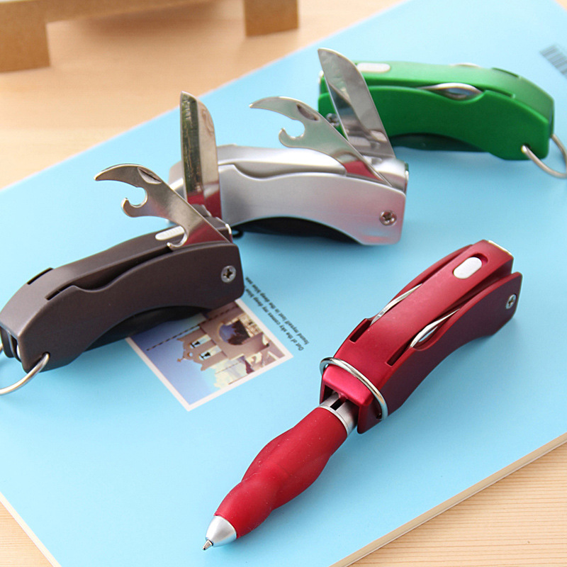 wholesale creative multifunction folding ballpoint pen with knife bottle opener keychain lamp. Black Bedroom Furniture Sets. Home Design Ideas