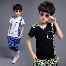 Male child boy set 2016 short-sleeve Camouflage child set spring and summer ploughboys