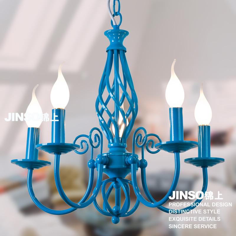 Blue fashion rustic pendant light restaurant lamp bar lamp dining table lamp 3202-5b(China (Mainland))