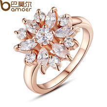 BAMOER Rose Gold Color Finger Ring for Women with AAA Cubic Zircon Engagement Jewelry #6 7 8 9 JIR029(China (Mainland))