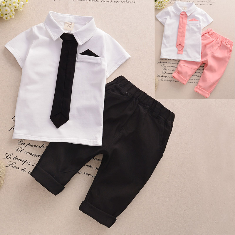2016 Newest Children Kids summer clothing set with a polo shirt and a middle pants Baby Girls Boys necktie tennis shirt Clothing(China (Mainland))