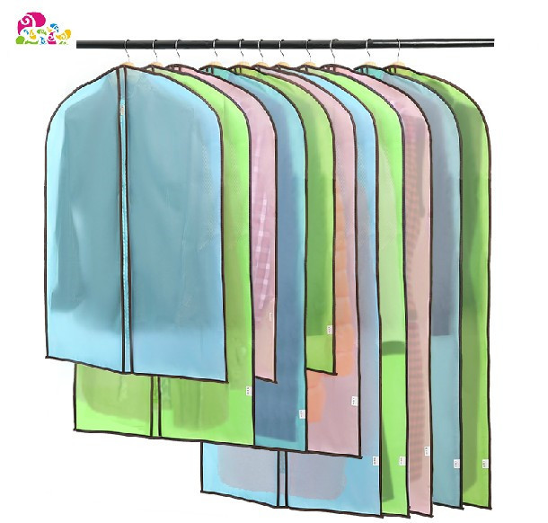 Clothes can be hung protective transparent waterproof protection of plastic sleeve clothing storage bag free shipping(China (Mainland))