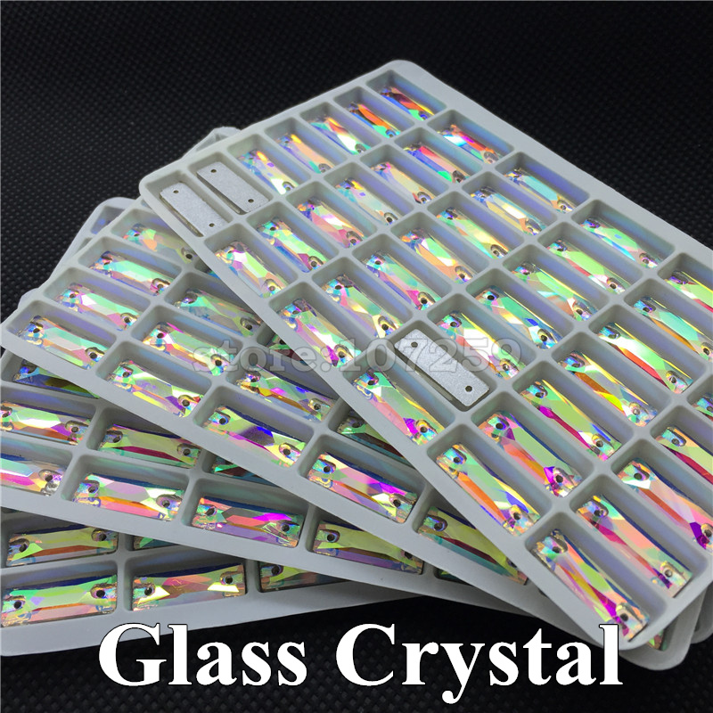 96pcs/box 8x24mm Crystal AB Color Baguette Shape Sew-on Shiny Rhinestone Flatback 2 Holes Sewing Glass Crystals Gems Stones(China (Mainland))