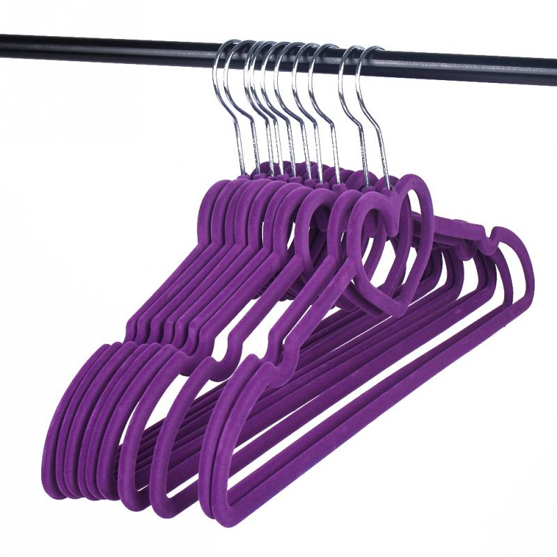 10pcs Flocking Non-Slip Thin Clothes Clothing Hanger Heart Shaped Space Save Closet(China (Mainland))