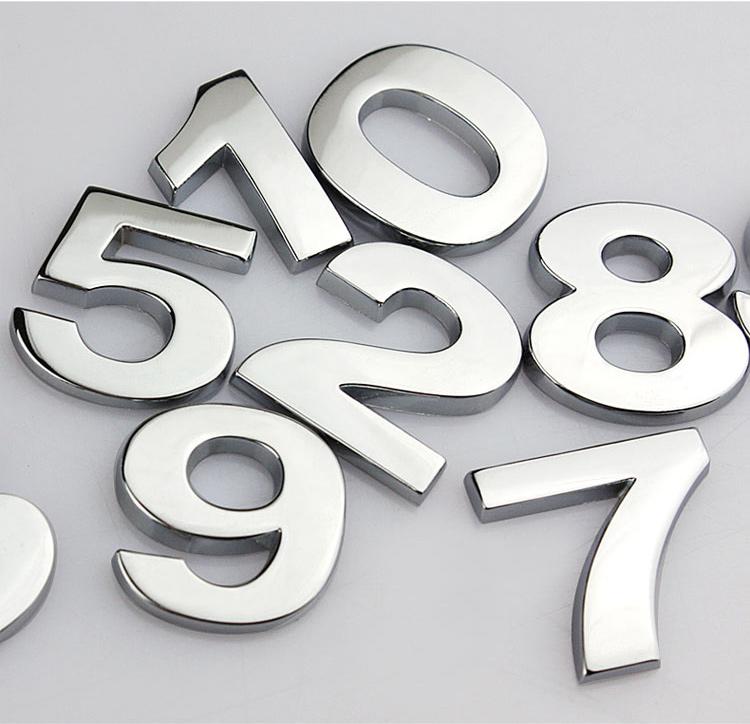 2pcs DIY Arabic numerals metal 3D stickers auto decorative accessories silver Non plating Car fashion metal stickers(China (Mainland))