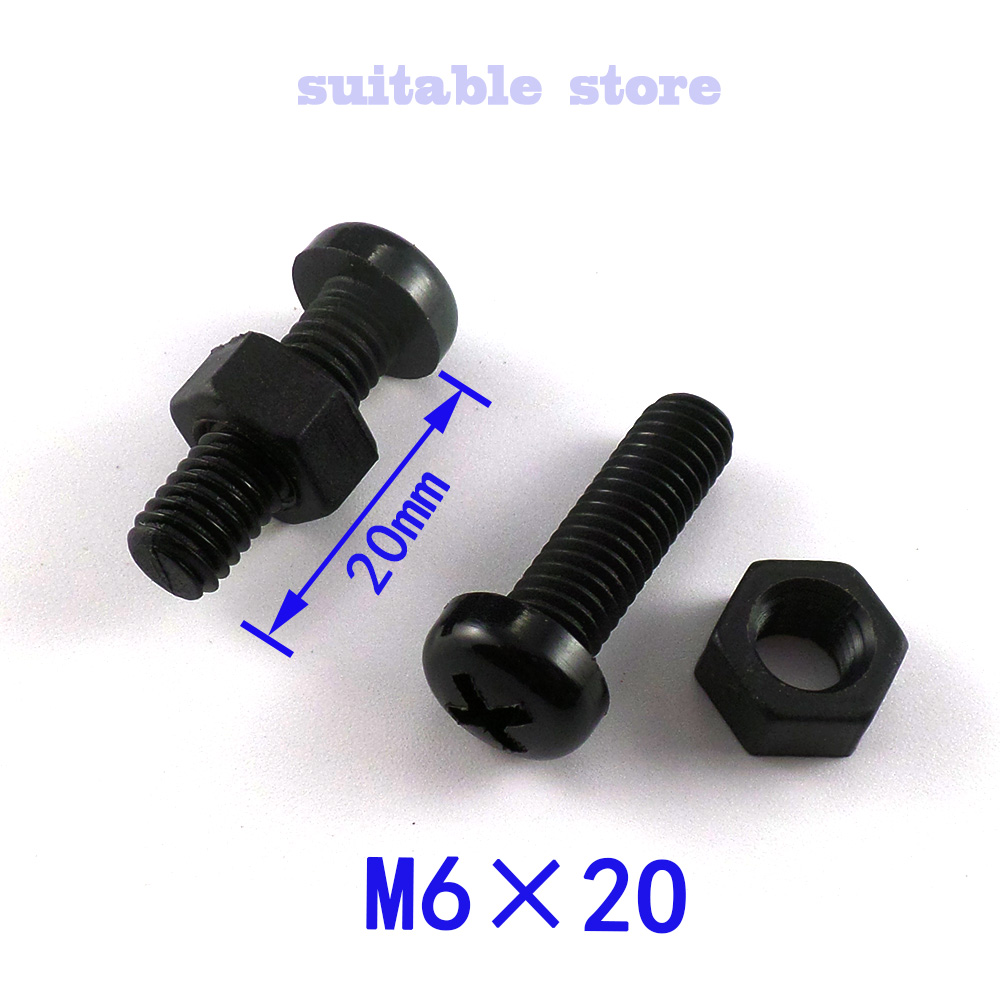 (20PCS) M6*20 Black nylon plastic  The round head screw  Comes with a nut  With hexagonal nut The round head bolts<br><br>Aliexpress