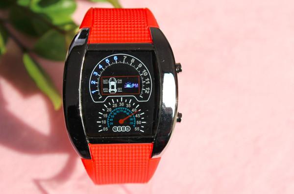 Best selling fashion racing car design military matrix dot lights with black&silver frame sport clock digital led aircraft watch(China (Mainland))