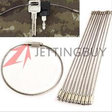 Hot Sale 10PCS Stainless Steel Wire Keychain Cable Key Ring for Outdoor Hiking Camping 150mm(China (Mainland))