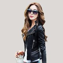 Leather Jacket Women 2016 new Fashion Leather Coat Women Short Slim Motorcycle Leather Clothing Female Outerwear black(China (Mainland))