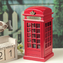 Vintage British Style Phone Booth Piggy Nostalgic Wood Shooting Props