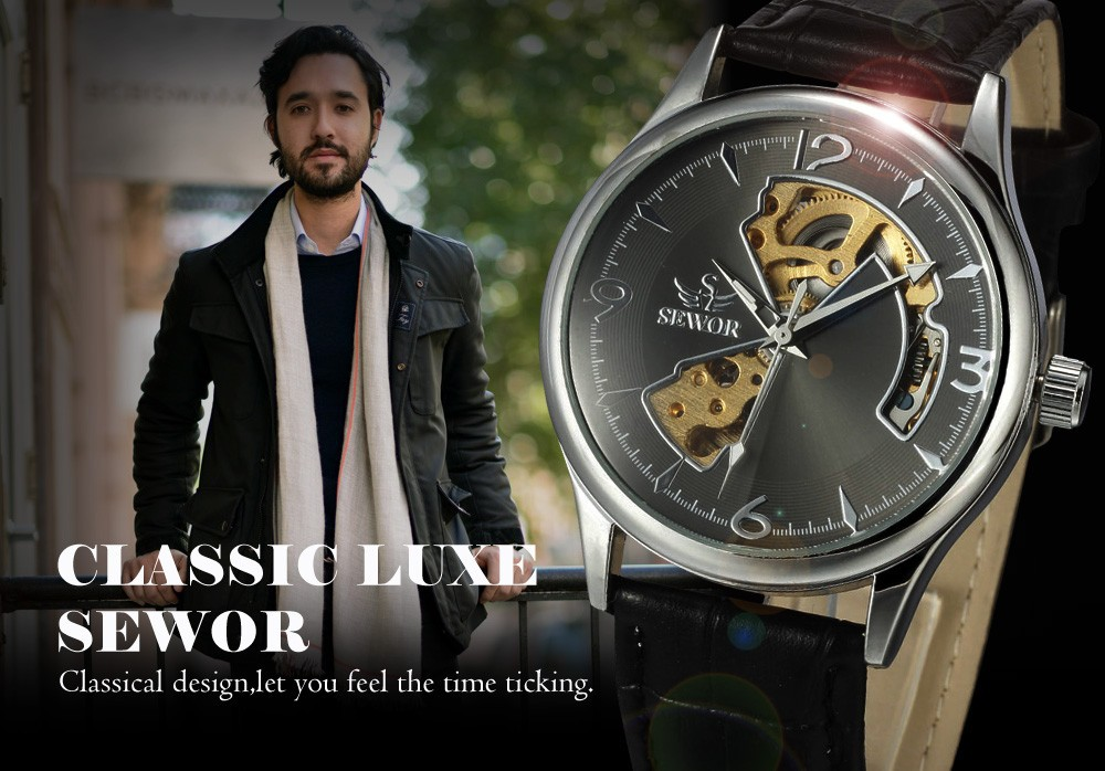 стильные стимпанк циферблат дизайн моды кожаный ремешок наручные часы роскоши платье механические часы мужчин повседневные бизнес relogios