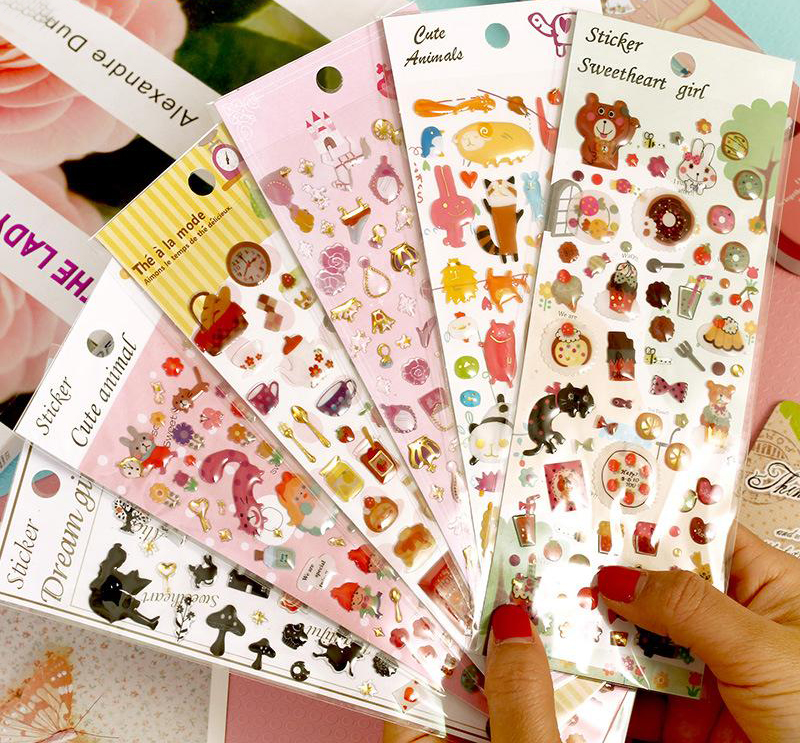 1Sheet New Cute Little Animals Stereoscopic Epoxy Stickers Decoration Stickers DIY Scrapbooking Stickers H0202(China (Mainland))