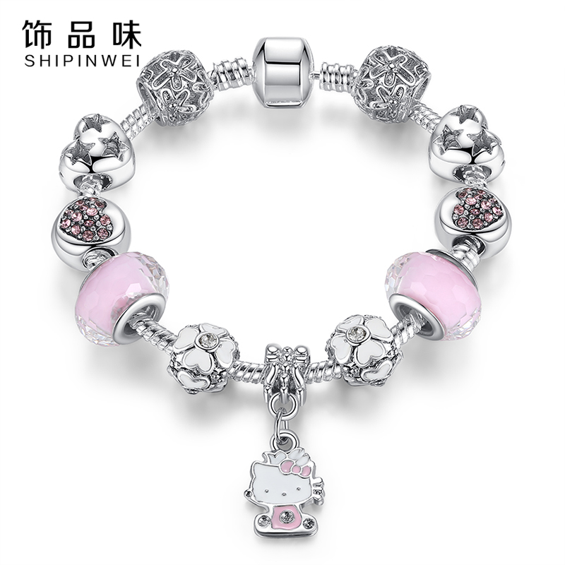 Cute Cat Hello Kitty Charms Fit Original Bracelet Bangle Murano Glass Beads Bracelet for Women Children Girl DIY Fashion Jewelry(China (Mainland))