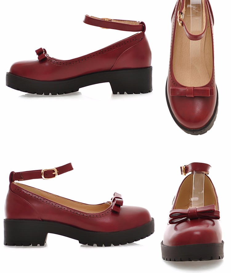 Fall 2016 institute lolita sweet bowknot thick bottom small leather strap thick with round head single Shallow mouth woman shoes