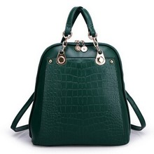 6 Colors  Japan and Korean Style Women Solid Embossed Metal chain Genuine Leather Backpacks(China (Mainland))