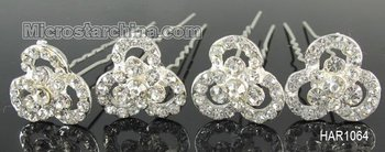 20pcs Clear CZ Crystal Wedding Party Bridal Flower Hair Pins Accessories Free Shipping