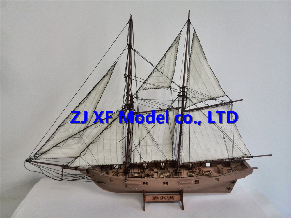 Sale 1/100 Laser-cut Wooden Ship model Kits Halko 1840 western Sail boat DIY Scientific Periodicals Kit (Free 2 pcs barrels)(China (Mainland))