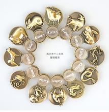 Free Shipping 1 set 12 pcs China gift Chinese Zodiac Magnetic Golf Ball Markers w Golf Zodiac Hat Clip , Chinese elements(China (Mainland))