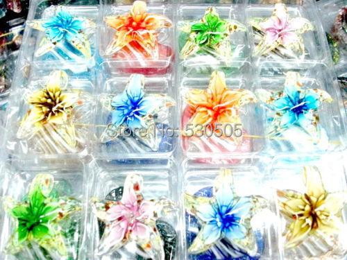 24PCS Handmade Mix Color Lampwork Art Murano Glass Bead Pendant