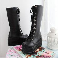KarinLuna Size Lớn 31-49 Thời Trang Punk cosplay Giày Người phụ nữ Giày nền tảng mùa đông nêm Giày nữ đế cao đầu gối giày cao c(China)