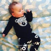 2016 Autumn New baby boys girls Romper baby clothes s cotton Bear Long sleeve T-Shirt+pants newborn  baby clothing(China (Mainland))