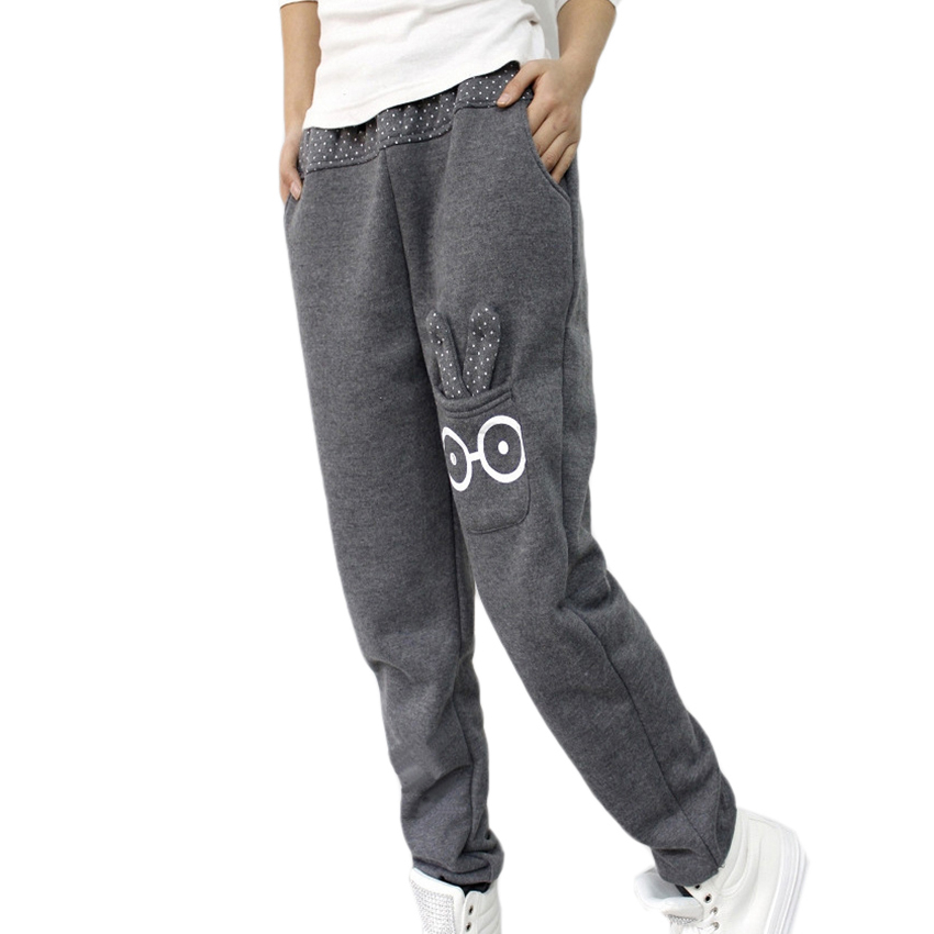 2015 casual straight pockets gray elastic waist cotton loose full length sport cartoon rabbit women sweatpants active pants u8(China (Mainland))