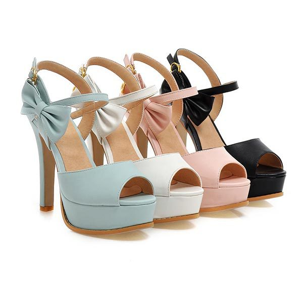 2015 summer new sweet peep toe high heels solid color bowtie high-helled shoes breathable and comfortable women shoesD1385<br><br>Aliexpress