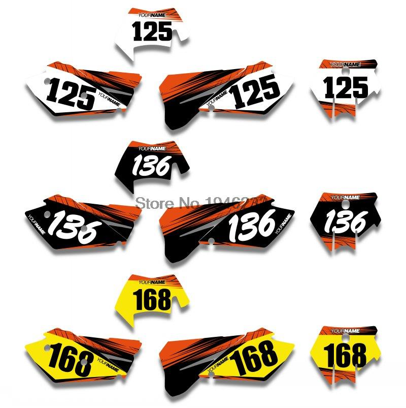 KTM SXF MXC SX EXC 2005 2006 2007 Custom Background Number Plate Graphics Sticker & Decals - Cnc Motocross Parts store