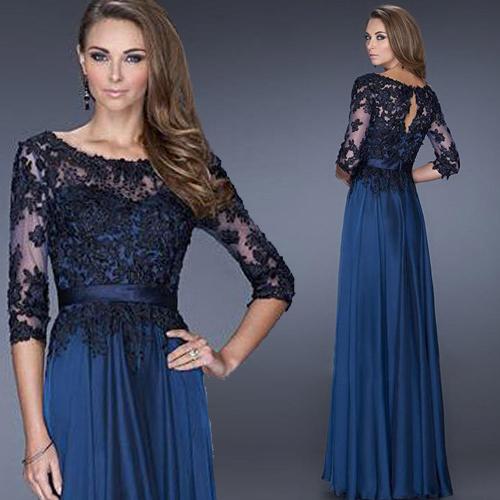 Vestido Festa Longo Cheap Lace Three Quarter Sleeve Blue Black Evening Dresses New Arrival Formal Dress Evening Gowns(China (Mainland))
