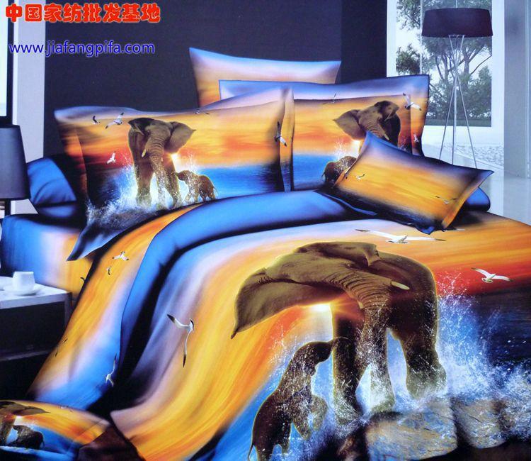 3D Blue yellow elephant bird animal print bedding comforter set sets queen size bedspread duvet cover sheets bed sheet cotton(China (Mainland))