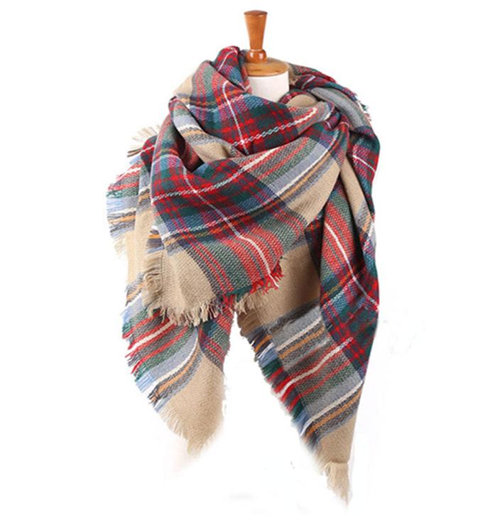 za women winter scarf 2015 Brand Plaid Scarf New Designer Unisex Acrylic Basic Shawls Women Scarves Big Size shawls(China (Mainland))