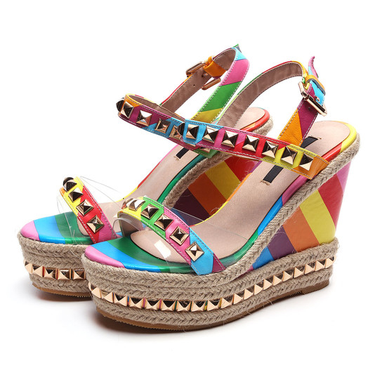 2016 Women Fashion Rivet Buckle Rainbow Color Heel High Heel Wedges Sandals Lady Party Sandy Casual shoes for women()