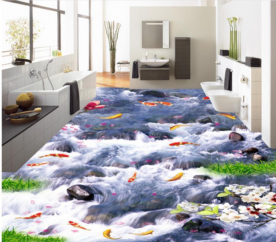 Floor wallpaper 3d for bathrooms waterfall 3d wall murals for 3d wallpaper for home floor