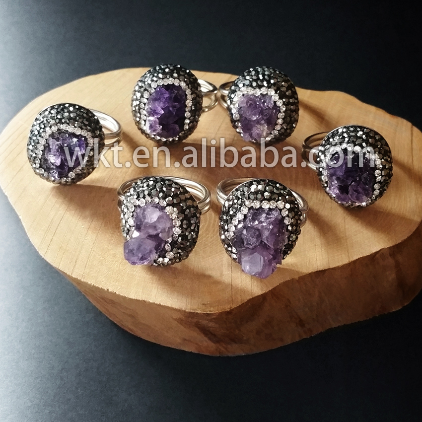 Wholesale 925 sterling silver natural raw amethyst ring fashion druzy amethyst stone silver ring<br><br>Aliexpress