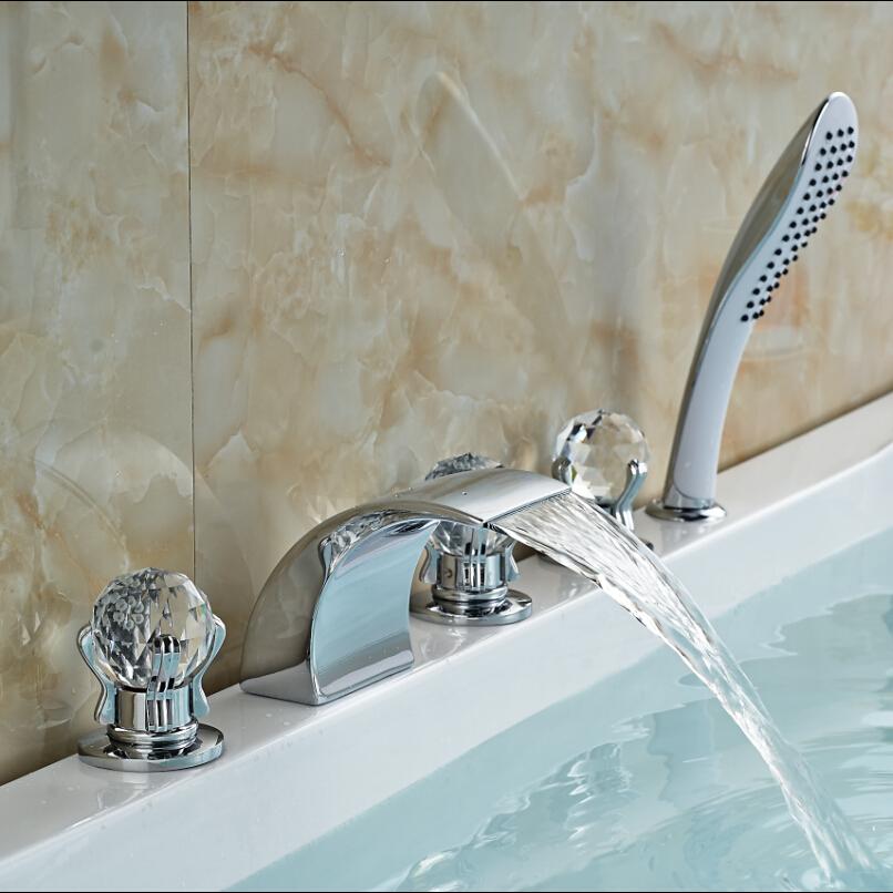 Фотография Luxury 3 Cristal Handles Waterfall Bathtub Faucet Bathroom Bath Shower Mixer Taps with Handshower Chrome Finish