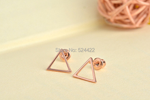 Min 1pc Gold/Silver/Rose gold Hollow Triangle Pattern Stud Earring Tiny Triangle Stud Earrings ED062(China (Mainland))