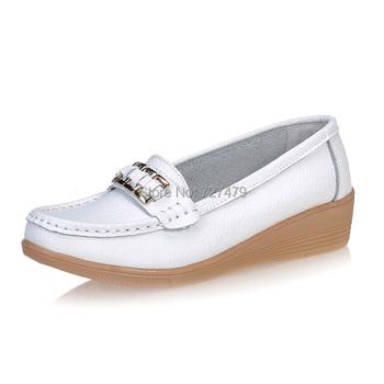 Рекламные женщина медсестра мокасины лето твердые низкой помощи обуви натуральная ...