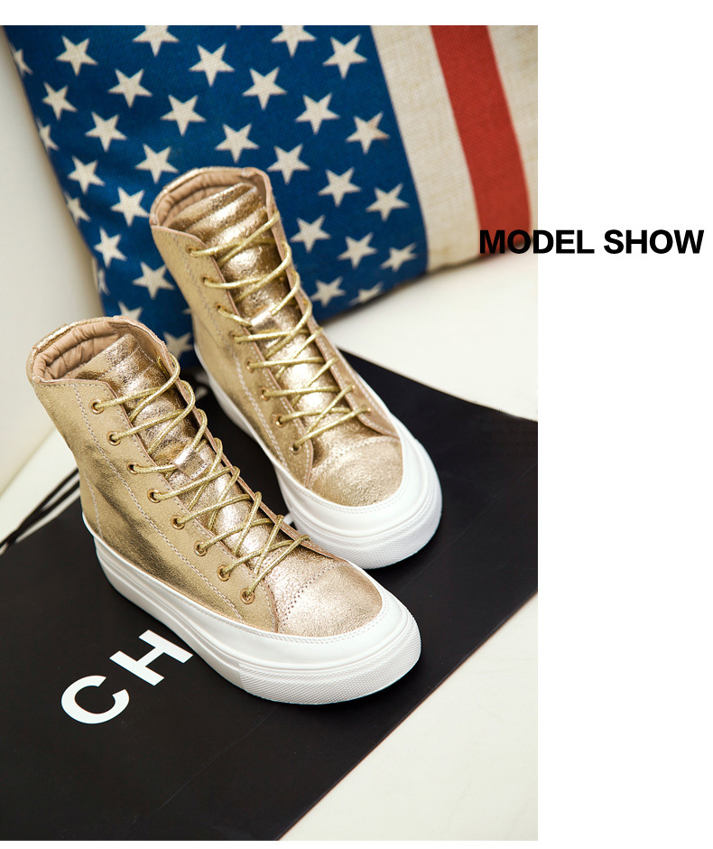 Hot Sales Women Dunk High Lace-up Shoes Gold Women Leisure Shoes High Quality Leather Round Toe Shoes for Autumn Winter<br><br>Aliexpress