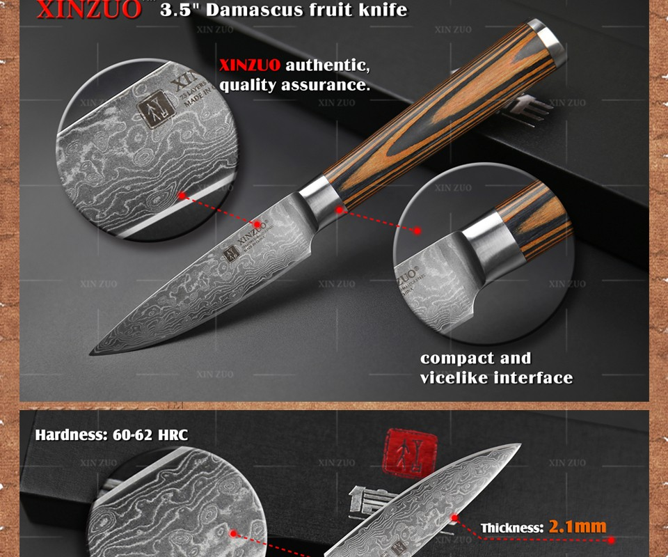 "Buy XINZUO 3.5"" inches fruit knife Damascus kitchen knives sharp paring kitchen knife parer utility knife wood handle FREE SHIPPING cheap"