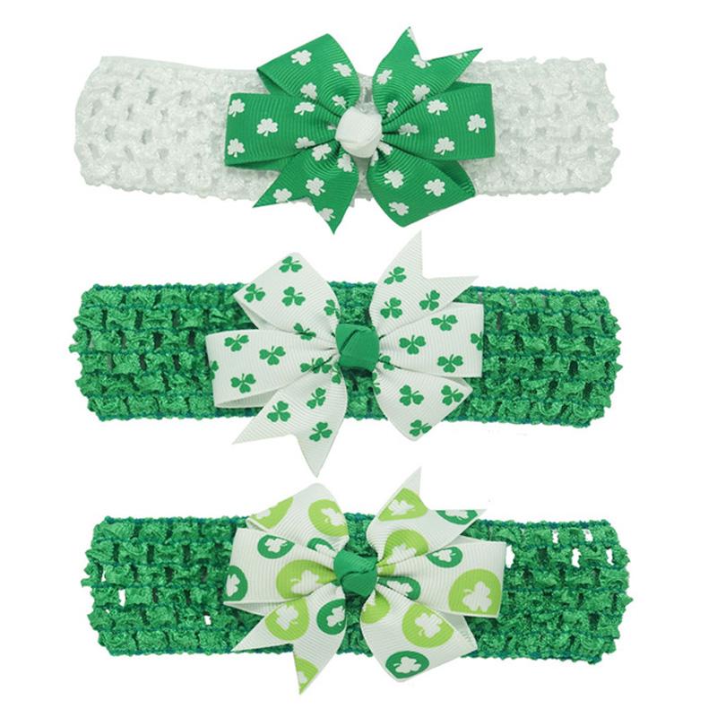 Girls Baby St. Patrick's Day Big Green Shamrocks Knot Hair Bow Crochet Headband 3Pcs/lot(China (Mainland))
