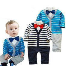Kids Baby Boy Striped Gentleman Romper Jumpsuit Bodysuit Clothes Outfit Bow Tie