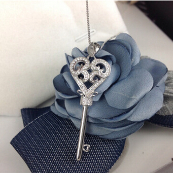 925 Sterling Silver Key fashion Statement Display Big Crystal Stone Charm Pendants Necklace Chain Wedding(China (Mainland))