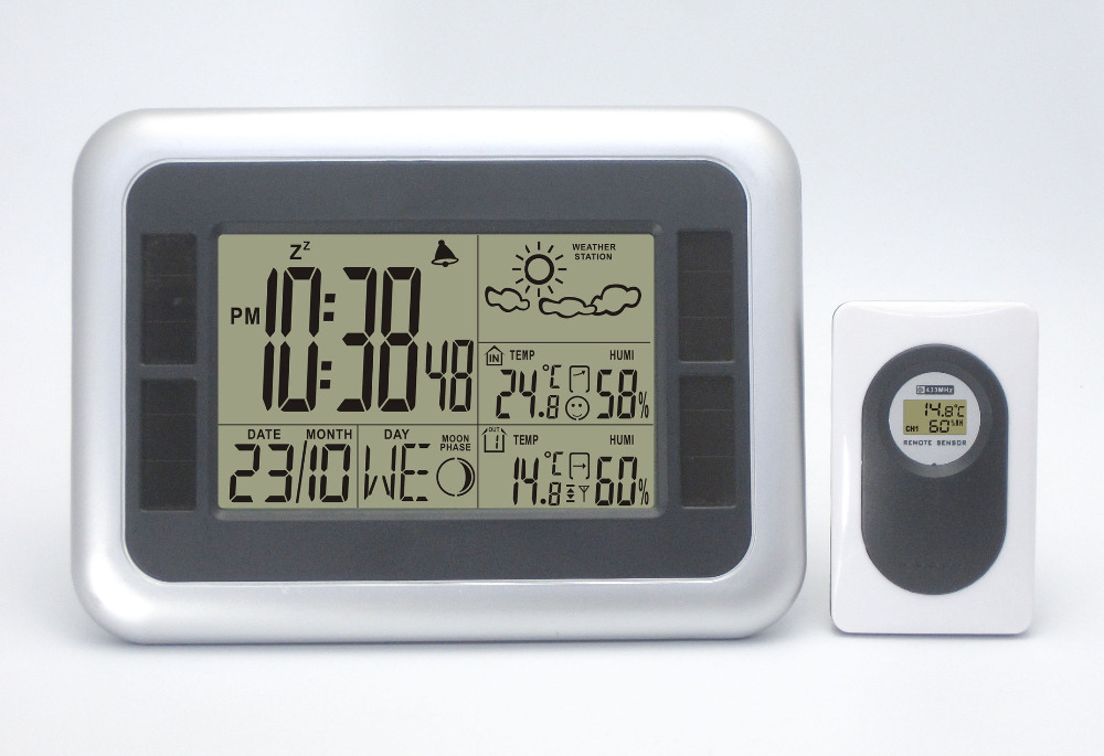 Solar Power Wireless Weather Station Indoor/Outdoor Temperature/Humidity Comfort index Digital Alarm Clock with Transmitter(China (Mainland))