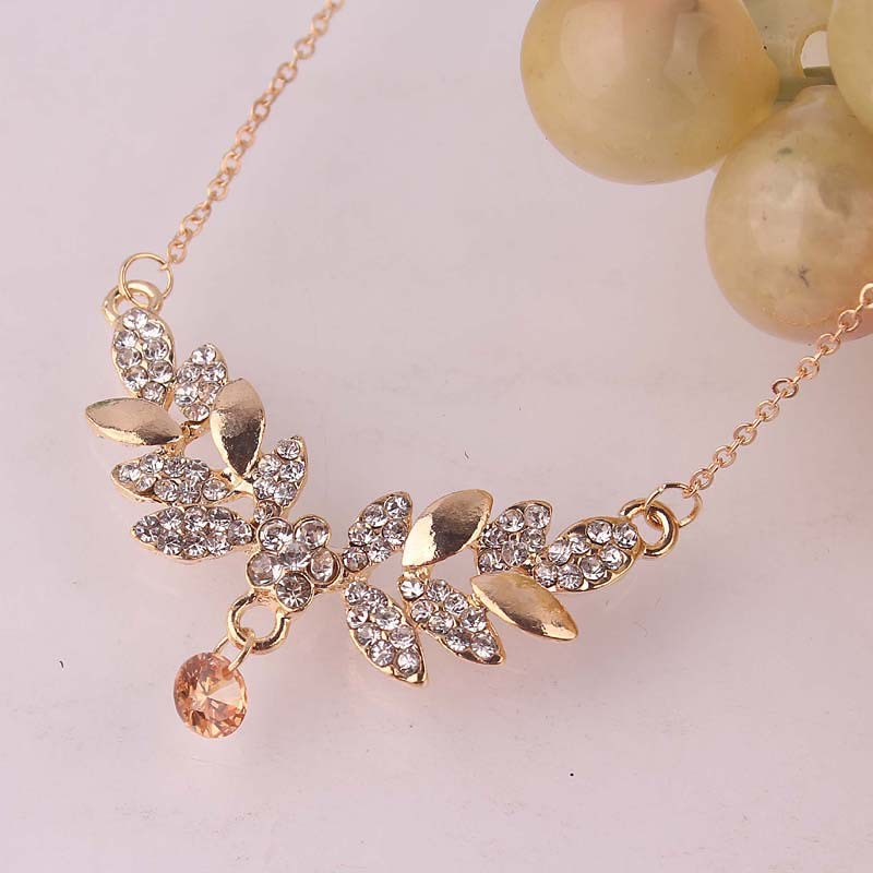 Free Shipping 14K Gold Plated 2 Color Leaf Pendant Crystal Necklace For Women Fashion Jewelry(China (Mainland))
