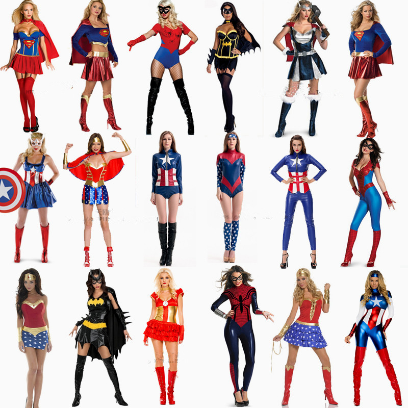 Halloween carnival party cosplay Japanese anime costume girls cosplay Female American captain iron man thor superwoman clothing(China (Mainland))