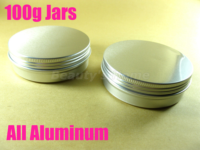 100g Aluminum jars cosmetic cream make jar refillable bottle Empty #1950 - Packing Supplier(Bottles and Jars store)