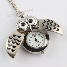 Hot sale Silver Vintage Night Owl Necklace Pendant Quartz Pocket Watch Necklace P26(China (Mainland))