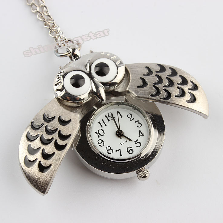 Hot sale Silver Vintage Night Owl Necklace Pendant Quartz Pocket Watch Necklace P26