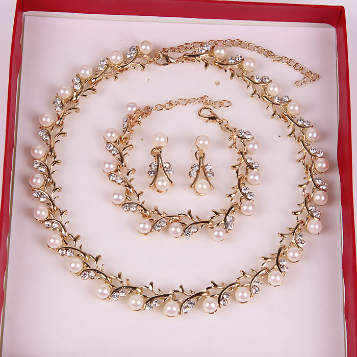 2015 New Gold Plated Bridal Wedding Parure Bijou Crystal Pendant Pearl Jewelry Sets Silver White Ivory for Brides Costume(China (Mainland))