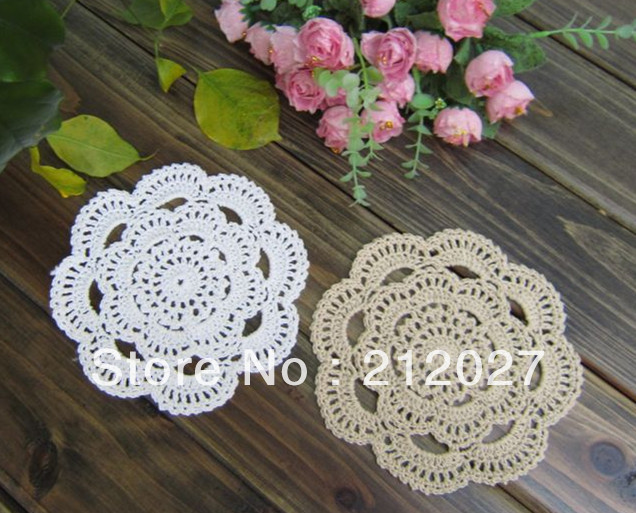"Free shipping wholesale 100% cotton hand made Crochet doilies/cup mat, cup pad,coaster 16CM/6.3"" 20 PCS/LOT(China (Mainland))"
